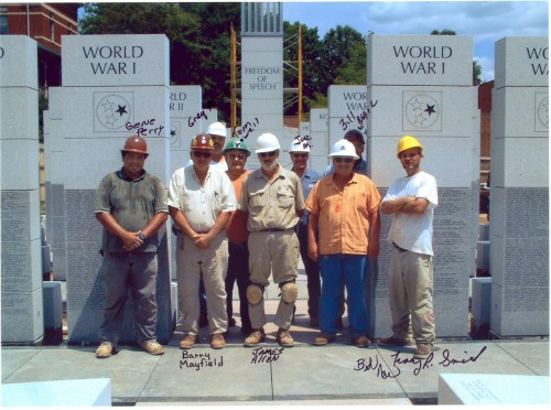 Some of the construction field personnel for the East Tennessee Veterans Memorial